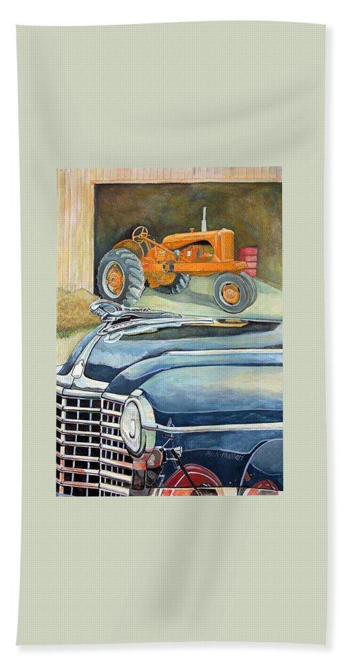 Rick Huotari Beach Sheet featuring the painting The Old Farm by Rick Huotari