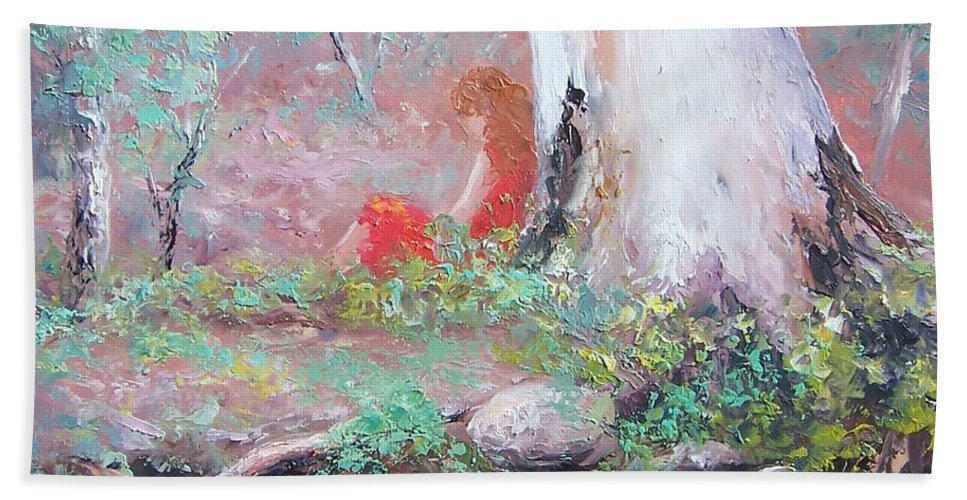 Landscape Beach Towel featuring the painting The Old Gum By The Creek by Jan Matson