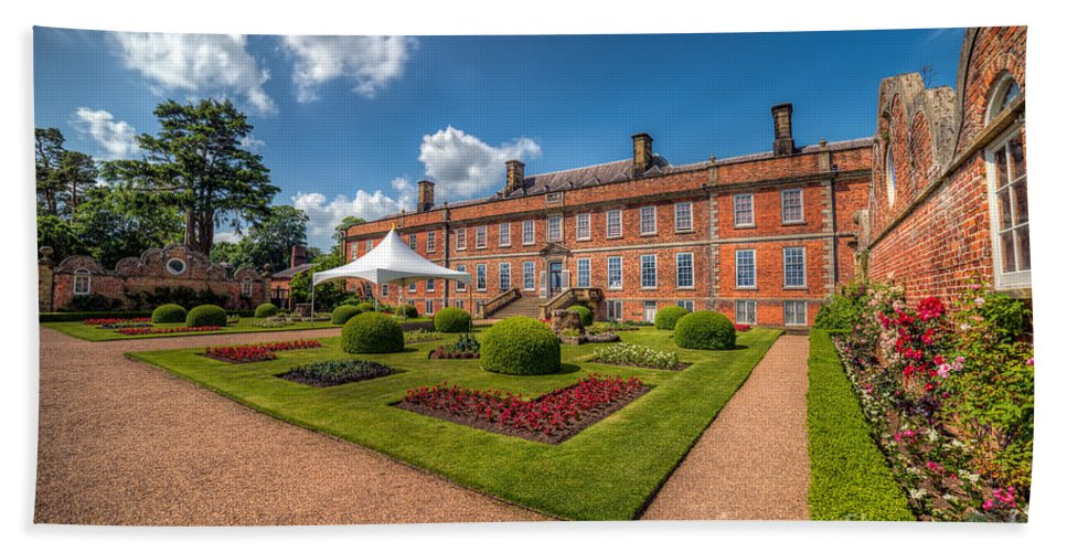 Stately Home Beach Towel featuring the photograph The Old Hall by Adrian Evans