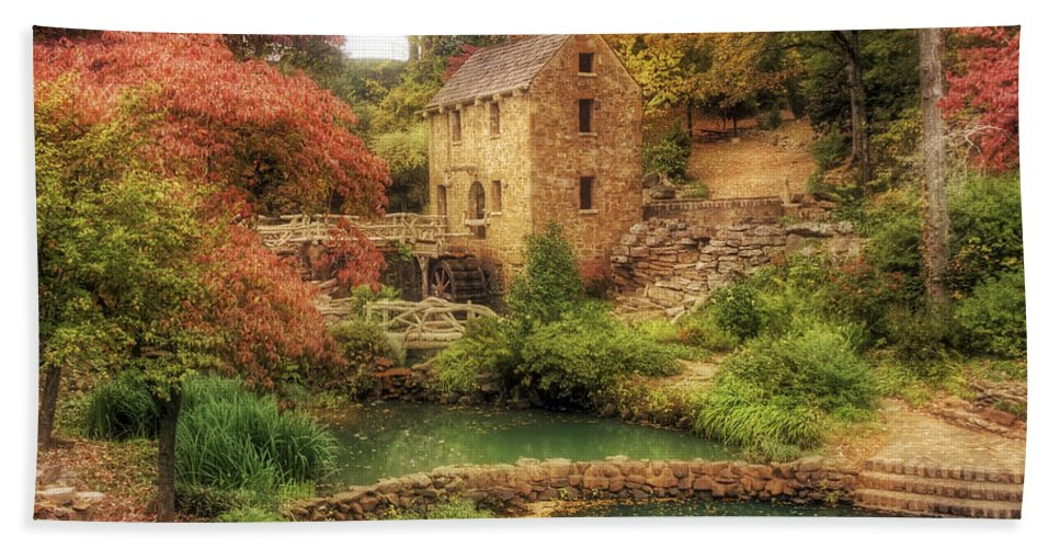 Old Mill Beach Towel featuring the photograph The Old Mill In Autumn - Arkansas - North Little Rock by Jason Politte