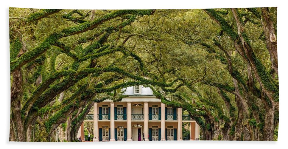 Oak Alley Plantation Beach Towel featuring the photograph The Old South Version 2 by Steve Harrington