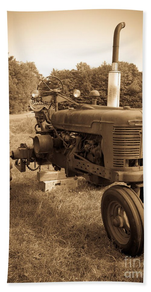 Sepia Beach Towel featuring the photograph The Old Tractor Sepia by Edward Fielding