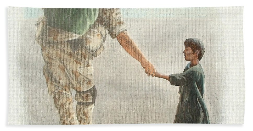 War Beach Towel featuring the painting The Outcome Of War Is In Our Hands by Conor O'Brien