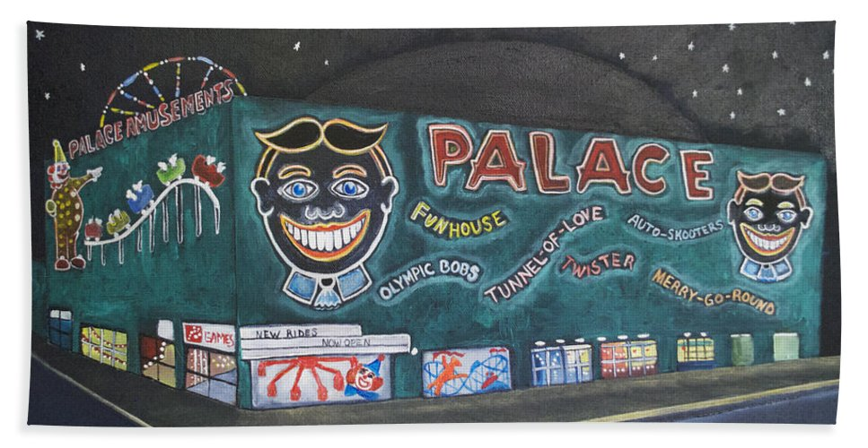 Tillie Beach Towel featuring the painting The Palace at Night by Patricia Arroyo