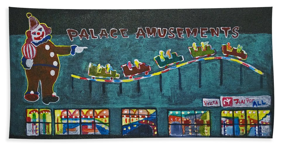 Asbury Park Beach Towel featuring the painting The Palace Clown at Night by Patricia Arroyo
