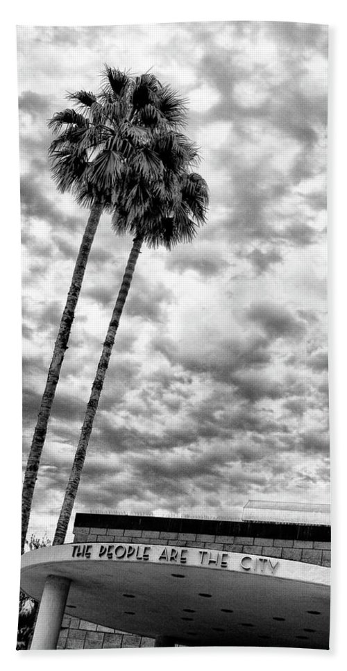 Featured Beach Towel featuring the photograph The People Are The City Palm Springs City Hall by William Dey