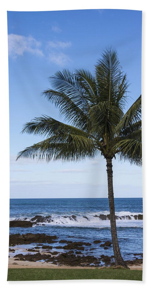 The Perfect Palm Tree Sunset Beach Oahu Hawaii Beach Towel For
