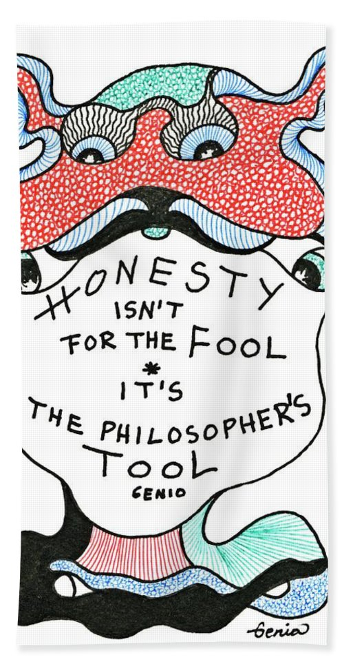Genia Beach Towel featuring the drawing The Philosophers Tool by Genia GgXpress