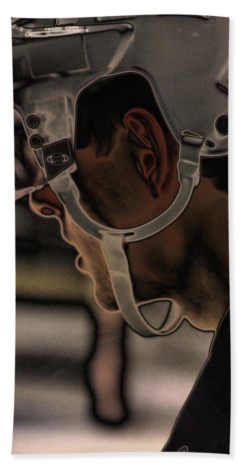 Hockey Beach Towel featuring the photograph The Player by Karol Livote