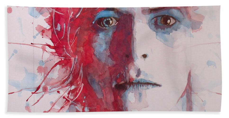 David Bowie Beach Towel featuring the painting The Prettiest Star by Paul Lovering
