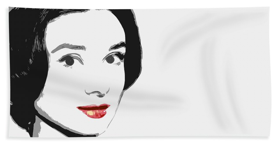 Princess Beauty Female Actress Woman Girl Red Lips Face Portrait Abstract Expressionism Impressionism Audrey Hepburn Famous Star Beach Towel featuring the painting The Princess Of Beauty by Steve K