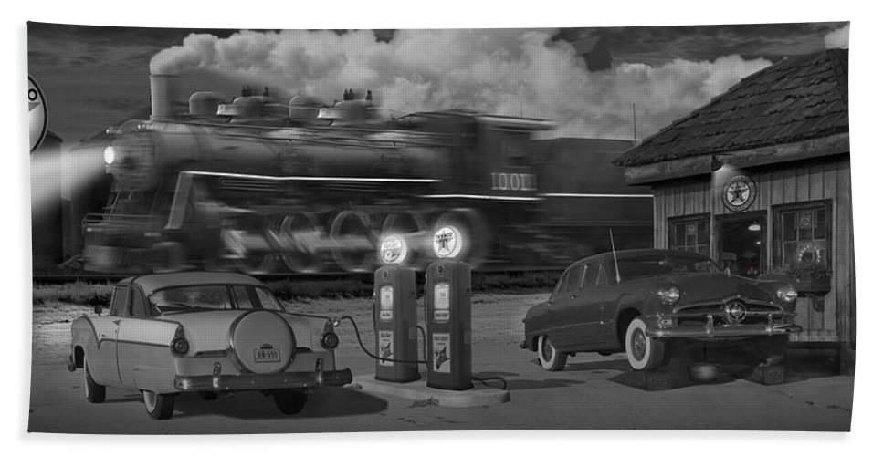 Transportation Beach Towel featuring the photograph The Pumps - Panoramic by Mike McGlothlen