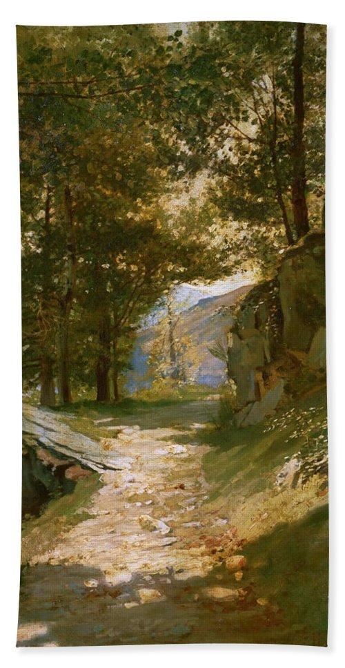 Henri Regnault Beach Towel featuring the painting The Pyrenees by Henri Regnault