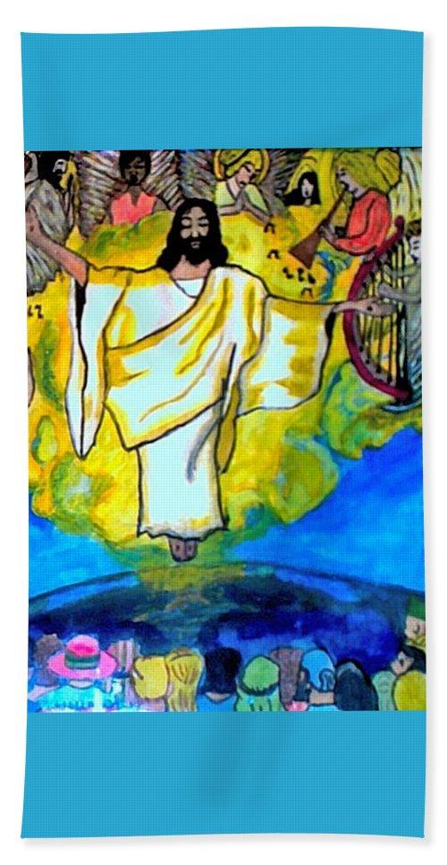 Jesus Beach Towel featuring the pastel The Rapture by Jo-Ann Hayden