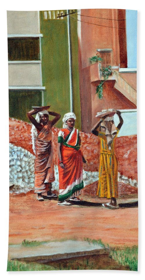 Real Beach Towel featuring the painting The Real Home Makers by Usha Shantharam