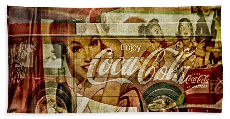 Coca Cola Beach Towel featuring the photograph The Real Thing by Susan Candelario
