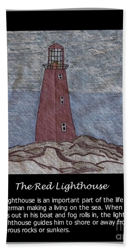 The Red Lighthouse Beach Towel featuring the photograph The Red Lighthouse by Barbara Griffin