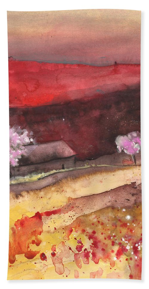 Travel Beach Towel featuring the painting The Red Mountain by Miki De Goodaboom