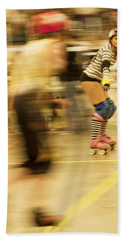 Roller Derby Beach Towel featuring the photograph The Ref by Theresa Tahara