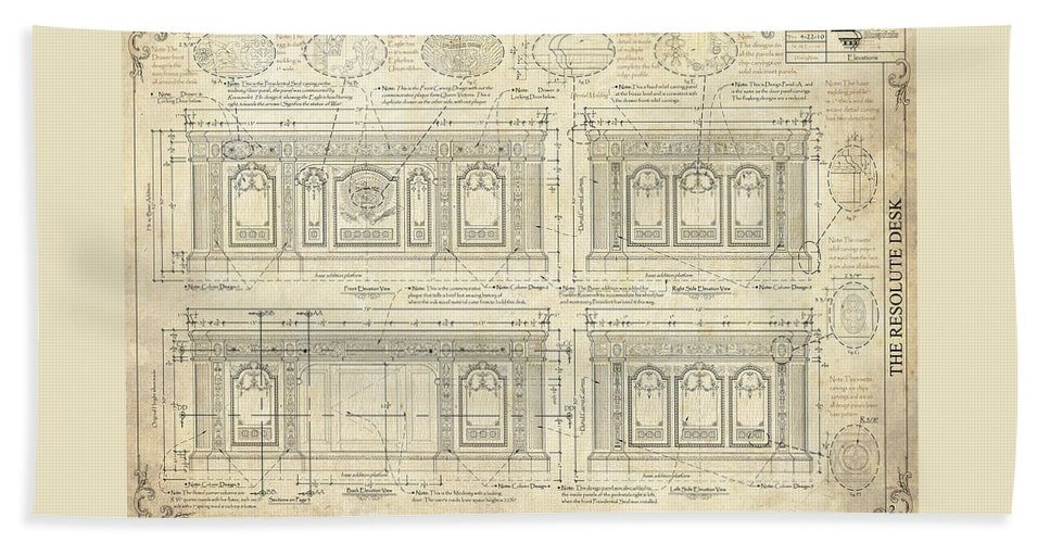 The Resolute Desk Beach Towel featuring the drawing The Resolute Desk Blueprints / Ivory Scroll by Kenneth Perez