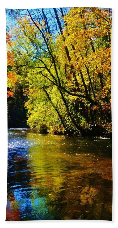 River Beach Towel featuring the photograph The Rifle River At Highbanks Base by Daniel Thompson