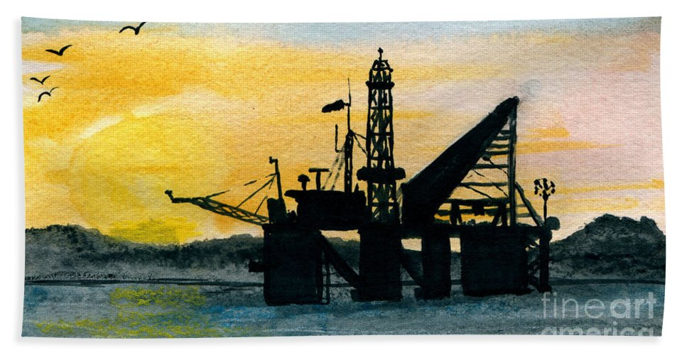 Art Artwork Painting Kyllo Superstructure Oil Well Rig Platform Drilling Drill Sea Ocean Water Saltwater Explore Silhouette Sun Mountains Watercolor Tower Crane Petroleum Gulf Offshore Derrick Energy Peace Peaceful Calm Calming Relax Relaxed Relaxing Restful Quiet Beach Towel featuring the painting The Rig by R Kyllo