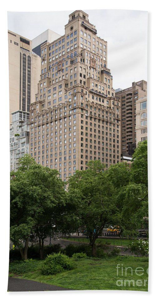 Buildings Beach Towel featuring the digital art The Ritz Carlton Central Park by Carol Ailles