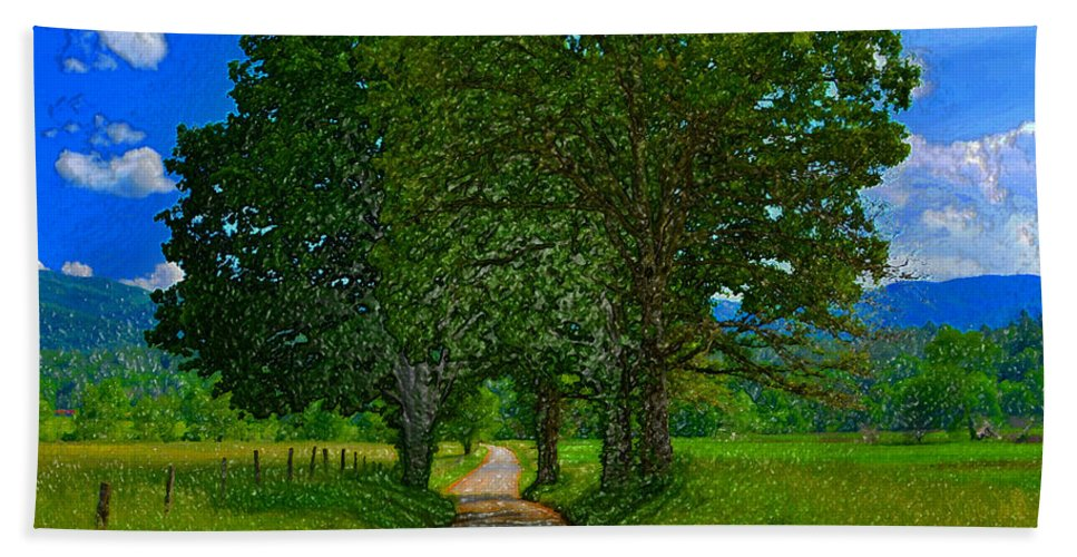 Art Beach Towel featuring the painting The Road by David Lee Thompson