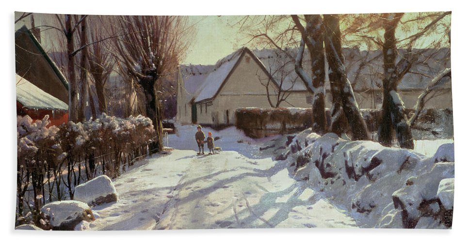 Winter Beach Towel featuring the painting The Road Home by Peder Monsted