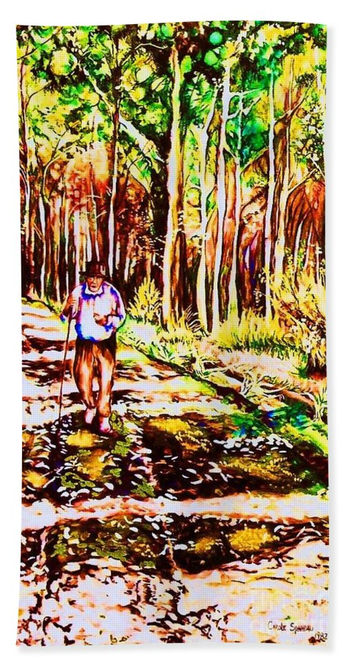 The Road Not Taken Robert Frost Poem Beach Towel featuring the painting The Road Not Taken by Carole Spandau