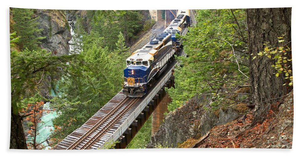 Rocky Mountaineer Beach Towel featuring the photograph The Rocky Mountaineer Railroad by Adam Jewell