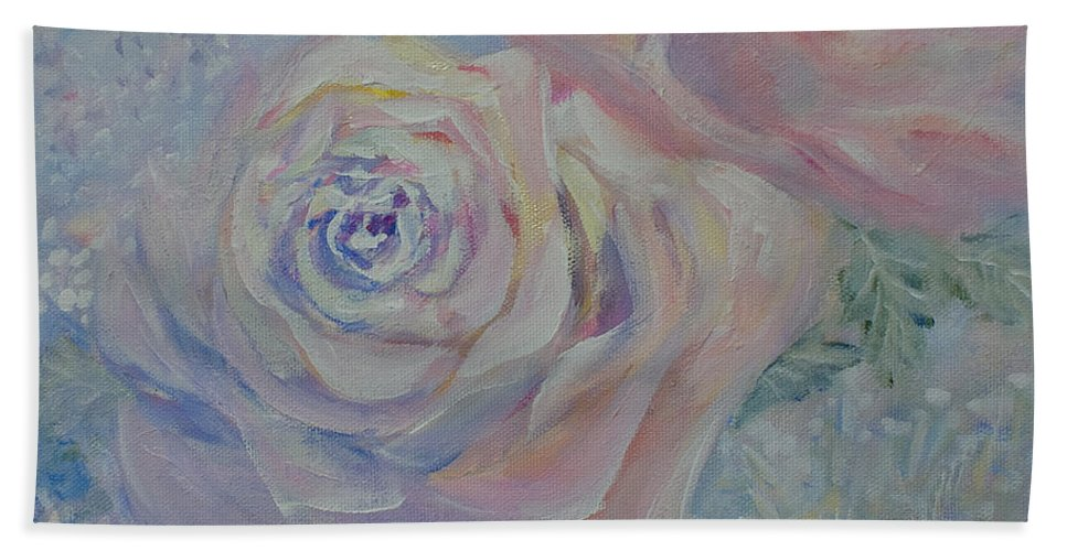 Flower Beach Towel featuring the painting The Rose by Joanne Smoley
