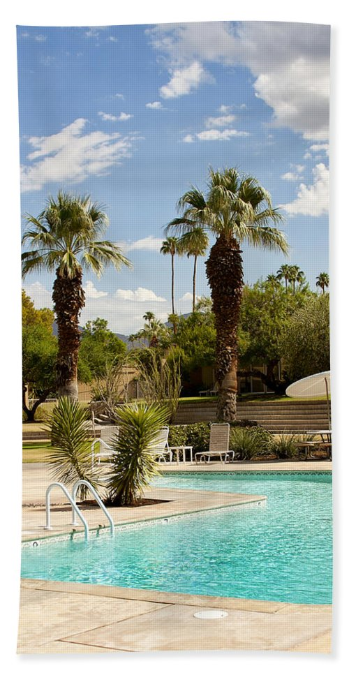 Sandpiper Beach Towel featuring the photograph The Sandpiper Pool Palm Desert by William Dey