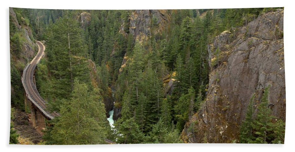 Railroad Gorge Beach Towel featuring the photograph The Scenic Cheakamus River Gorge by Adam Jewell