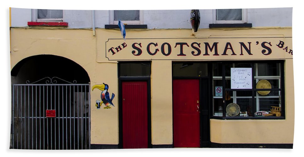 Scottsmans Beach Towel featuring the photograph The Scottsmans Bar - Donegal Ireland by Bill Cannon