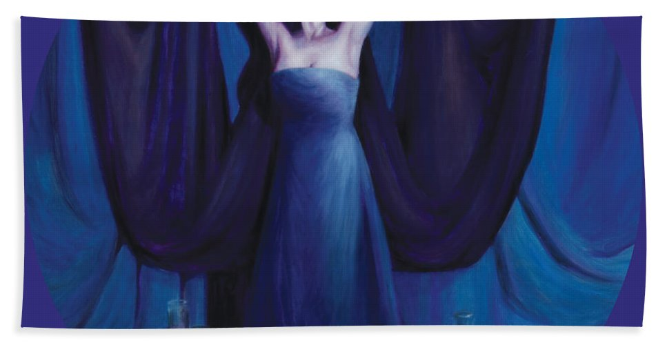 Shelley Irish Beach Towel featuring the painting The Seer by Shelley Irish