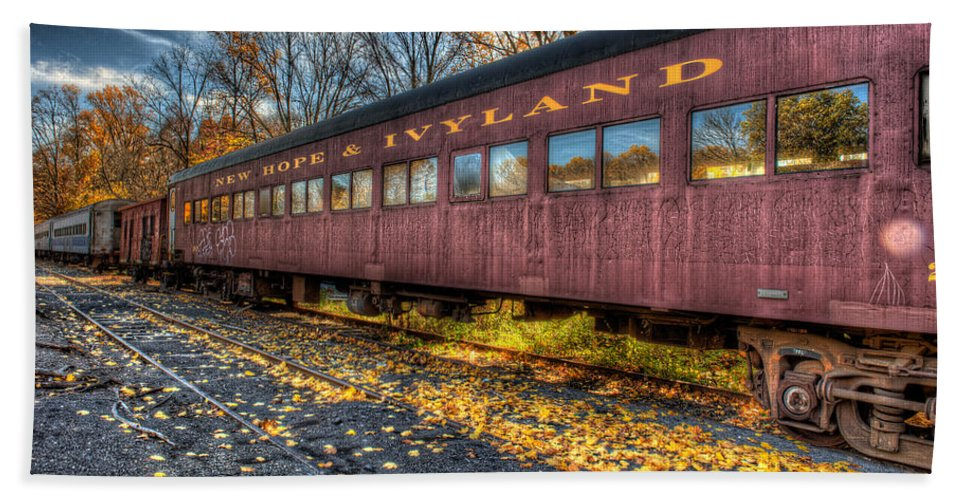 Railroad Beach Towel featuring the photograph The Siding by William Jobes