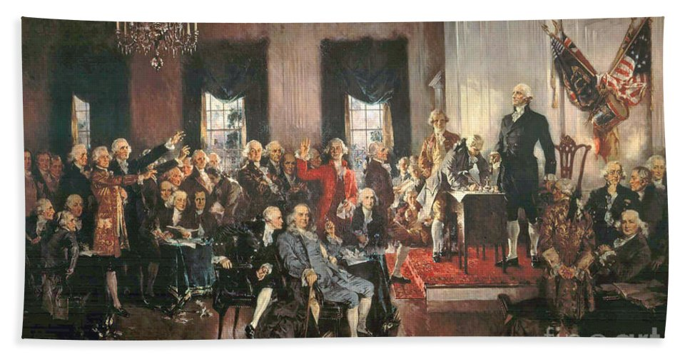 Congress Beach Towel featuring the painting The Signing Of The Constitution Of The United States In 1787 by Howard Chandler Christy
