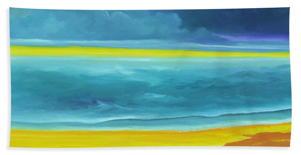 Alicia Maury Painting Beach Towel featuring the painting The Silent Sea by Alicia Maury