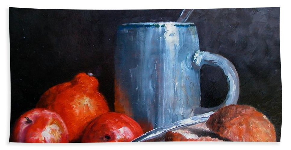 Still Life Beach Towel featuring the painting The Silver Cup by Jim Gola