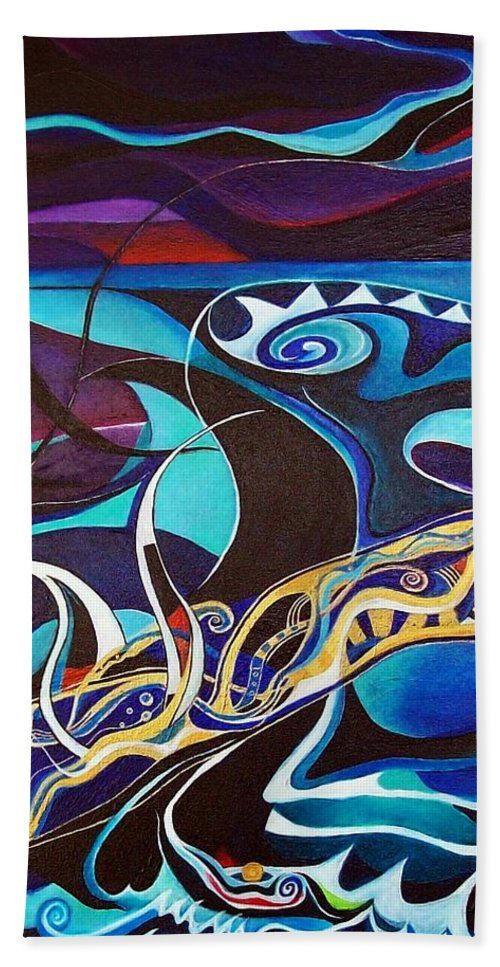 Homer Odyssey Ulysses Sirens Sea Singing Acrylic Abstract Symbolic Greek Mythology Beach Sheet featuring the painting the singing of the Sirens by Wolfgang Schweizer