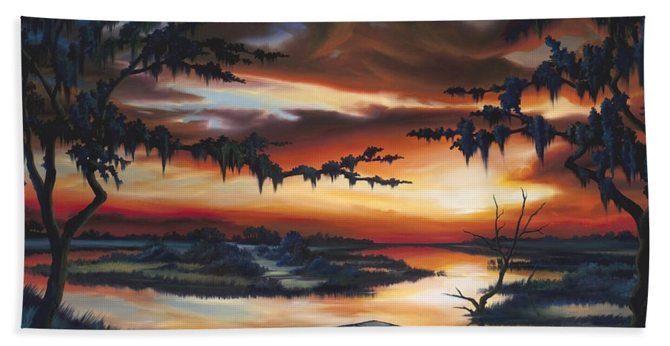 Marsh Beach Towel featuring the painting The Southern Marsh by James Christopher Hill