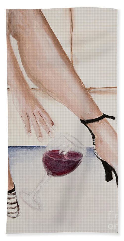 Red Wine Beach Towel featuring the painting The Spill by Boni Arendt