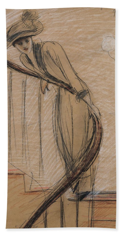 Woman Beach Towel featuring the drawing The Staircase by Paul Cesar Helleu