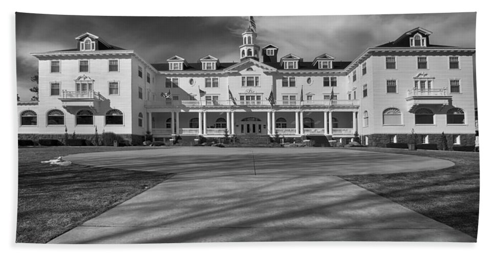 Stanley Hotel Beach Towel featuring the photograph The Stanley Hotel Bw by James BO Insogna