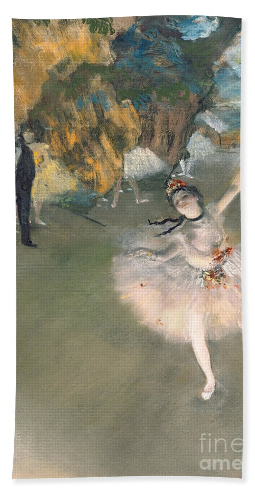 Prima Ballerina; Tutu; Dancing; Elegant; Ballet; Dancer; Dance; Impressionist Beach Towel featuring the painting The Star or Dancer on the stage by Edgar Degas