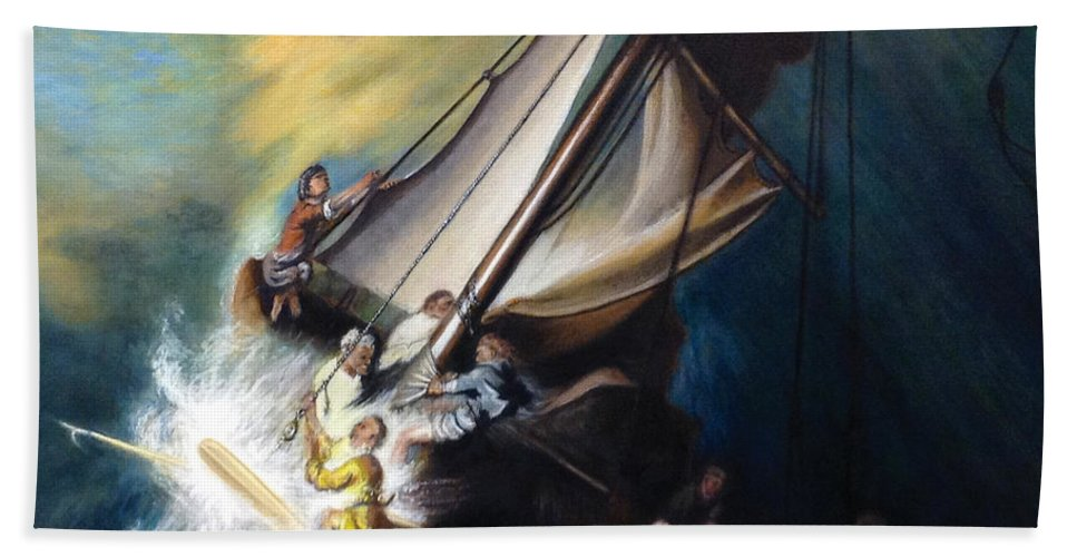 Seascape Beach Towel featuring the painting The Storm On The Sea Of Galilee by Mike Chhay