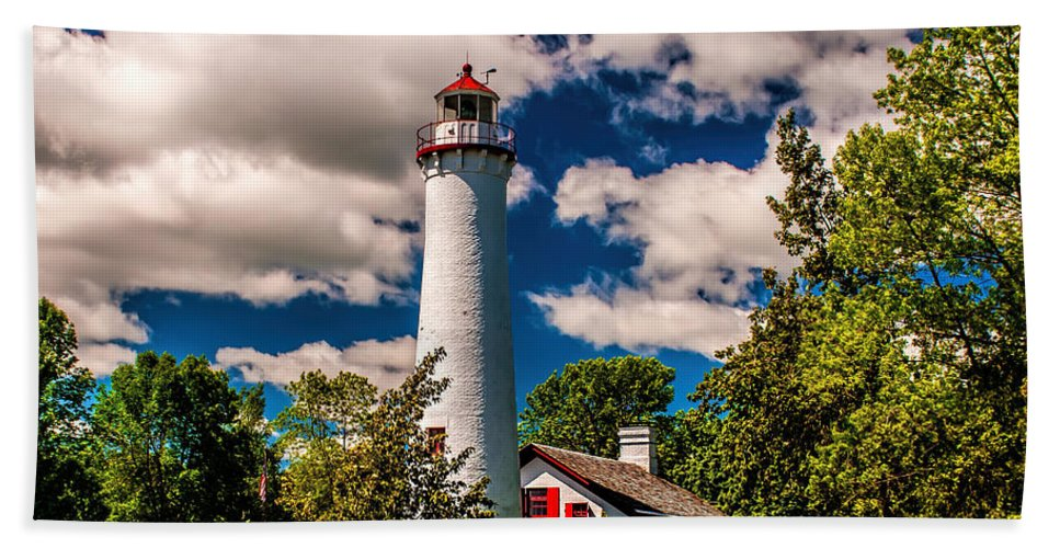 Lighthouse Beach Towel featuring the photograph The Sturgeon Point Light by Nick Zelinsky