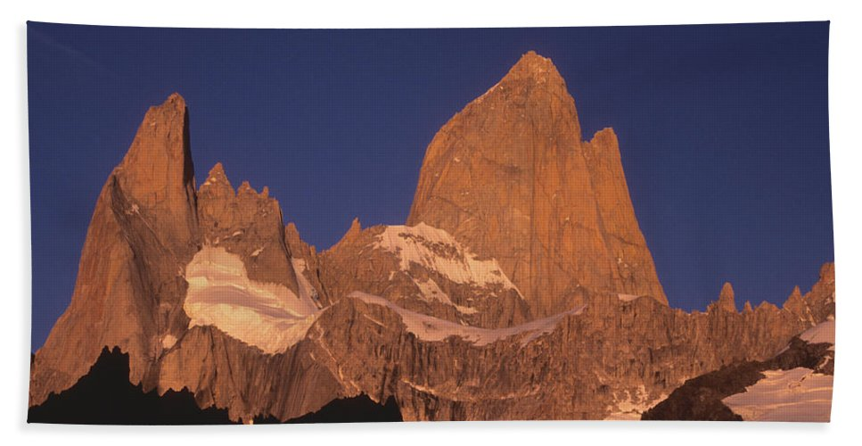 Patagonia Beach Towel featuring the photograph The Sunrise Of Fire Mt Fitzroy by James Brunker