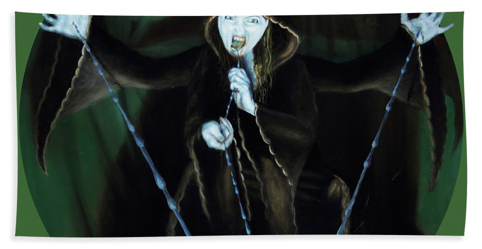 Shelley Irish Beach Towel featuring the painting The Taker by Shelley Irish